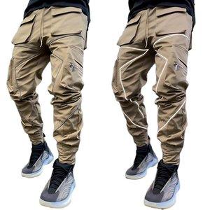 Erkekler Joggers pamuk Yansıtıcı pantolon Birden cepler Erkekler egzersiz kargo taktik eşofman Casual pantolon Streetwear fermuar