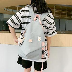 Кампус Стиль Женщина Рюкзак 2020 Новая мода школа для девочек-подростков высокого качества Students Book Bag College Doll Подвеска Q1113