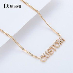 DOREMI Crystal Pendant Letters Necklace for Women Custom Jewelry Custom Name Necklaces Numbers Personalized Zirconia Pendant