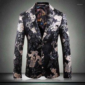 hombres fiesta hombres traje chaqueta rosas 2020 moda floral estampado traje chaqueta más tamaño 5xl manga larga slim fit blazers1