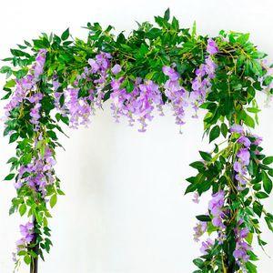 زخرفية الزهور أكاليل Qifu 2 متر الاصطناعي الوستارية زهرة كرمة النباتات البلاستيكية شنقا جدار ديكور يترك وهمية الزفاف ديكور 1