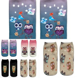 2 CuceoDeodorant Toe Wool Factory and Summer Fine Owl Secre Men's Rayed Animal Print Sock Socks Calcetines de punta Barco