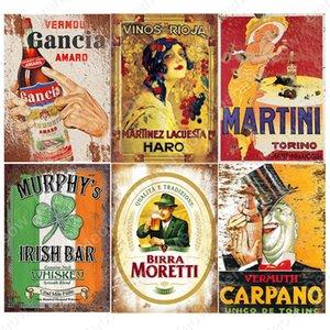Irish Pub Plaque Beer Vintage Metal Tin Signs Bar Club Cafe Home Decor Man Cave Wall Art Poster Italian Wine Metal Painting