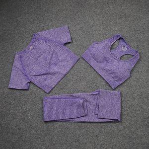 Moda Tasarımcısı Bayan Pamuk Yoga Takım Gymshark Sportwear Eşofman Spor Spor Üç Parçalı Set Pantolon Sutyen Gömlek Tayt Kıyafetler Alev