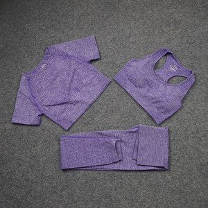 Fashion Designer Womens Cotton Yoga Costume Gymshark Sportwear Tracksuits Fitness Sport Trois pièces Set Pantalon Bra Shirts Leggings Tenue Flame