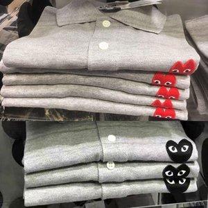 Tide Marke japanische Liebe Polohemd für Männer und Frauen Liebhaber T-Shirt aus Baumwolle Revers Ärmel kurzen lose großen