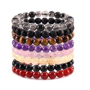 perline 8 millimetri di pietra naturale braccialetto di cristallo ametista di braccialetti del turchese Tiger per i monili degli uomini delle donne fashion e regalo di sabbia