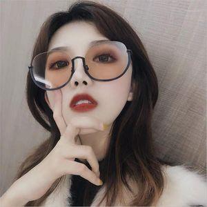 Gafas de sol Gafas de sol Mujeres Vintage Medio Marco Gafas de sol Eyewear Brand Designer Círculo Redondo Círculo Semi Rimless Glass UV4001