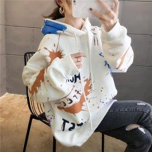 2020 Long Sleeve Sweatshirt Women's Autumn And Winter Plush Hoodie Fashion Large Women's Clothes With Splash Ink Printing En*