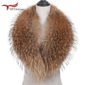 100% Real Raccoon Fur Scarf In Winter Furry Warmth Fashion Slippers Ladies Coat Collar 110cm Shawl Real Fur Horn Collar