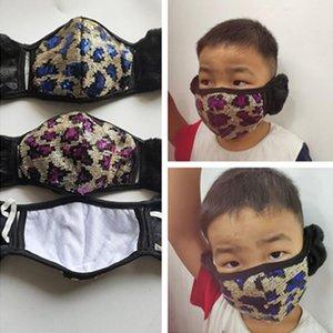 С Плюшевые руно Earmuffs Face Mask Дети Дети Взрослые Леопард Sequined Зимняя маска Блестки маска для лица Skimask Открытый Headwear E102301