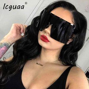 Tendance lunettes de soleil surdimensionnées Femmes Hommes Rivet Lunettes de soleil d'une seule pièce Miroir Lunettes coupe-vent Sunglass UV400 lunettes de soleil surdimensionnées