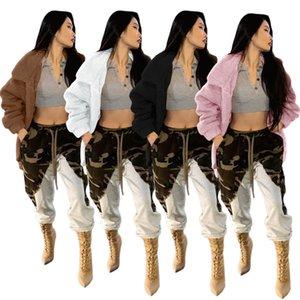 Cor sólida revestimento de lã designer mulheres manga longa lapela pescoço zíper jaquetas de inverno solto lã mulheres outerwear roupas