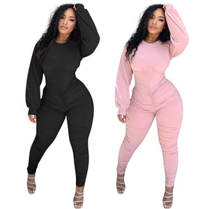 Pleated Zipper Jumpsuits Womens Designer Long Sleeve O Neck Romper Autumn Sexy Slim Women Clothing