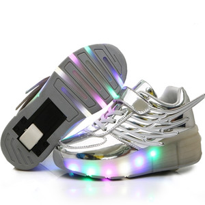 NEBAISEN Girls Boys LED Light Roller Skate Shoes For Children Big Kids & Adults Sneakers With Wheels One wheels 201202