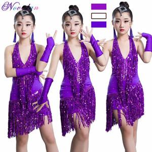 Ребенок Professional Latin платье Конкурс танца пришивания Fringe кисточкой Salsa Tango Бальные танцы Kid Девушка латинских танцев Костюм