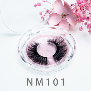 [Mink False Eyelashes-NM101]Mink Lashes 3D Silk Protein Mink False Eyelashes Long Lasting Lashes Natural Mink Eyelashes Round Box Packaging