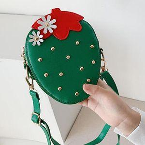 Cute Girls Shoulder Bag Coin Purse Lovely Children Strawberry Rivet Crossbody Bags Fashion PU Leather Kids Mini Wallet