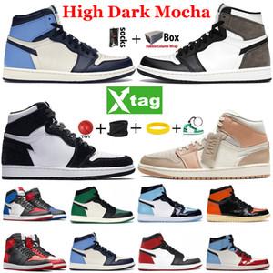 De calidad superior 1 zapatos de baloncesto del Mens 1s Jumpman alta oscuro Mocha Torsión UNC Chicago roral Dedo Medio luz gris humo Ejecución de las zapatillas de deporte