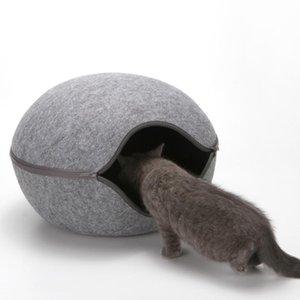 Cute Creative Egg Shape Pet Cat Bed Sleeping Bag Zipper Winter Warm Pet House All Around Cat Nest With Detachable Cushion Mat