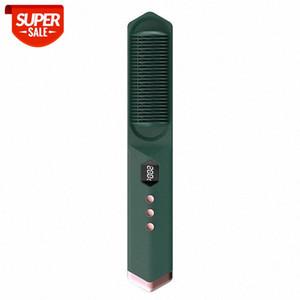 Electric hair straightener heating comb brush heating ceramic beard straight hair brush curler dual-use straightening comb #Ru9T