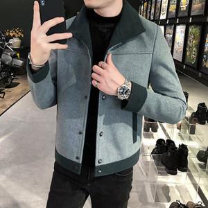 2020 짧은 한국어 스타일 와이드 맨리 코트 완두콩 남자의 푸른 남성 가을 모직 겨울 자켓 DHML