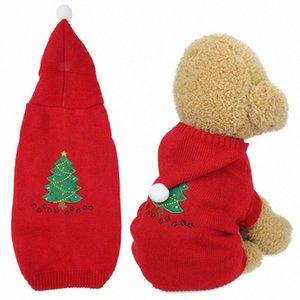 Frühlings-Haustier-Welpen-Acrylfasern Red Christmas Tree Pet-Winter-warmer Pullover Kostüm-Kleidung Kleidung für Hunde n4sq #