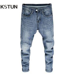 Good Quality Jeans for Men Skinny Stretch Light Blue Fashion Streetwear Denim Pants Men's Clothing Long Trousers Jean Hombre 38 201004