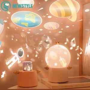 Starry Sky projecteur Night Light Music Box Angle lampe LED facturable Rotation univers coloré ocaen clignotant Star Kids bébé cadeau 201028
