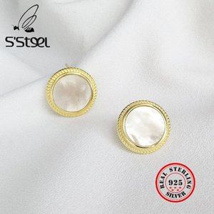 925 Sterling Silver Shell Pearl Earrings Gold Stud Brincos Minimalist Boucle D'oreille Femme 2020 Women Accessories Jewellery