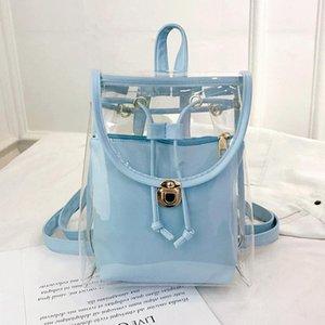 Realer Mulheres Mochila saco transparente fêmea transparente Jelly PVC Backpack coreano pequena viagem Composite