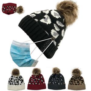 Inverno Stoffe Cappelli delle donne della ragazza Leopard Berretti con supporto bottone Truccatori Skull Caps Pompon Hat staccabile Moda Ski Sport D102704