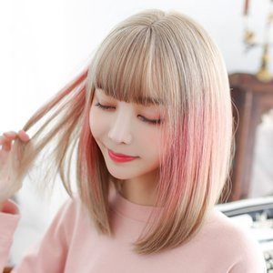 New style female wigs gradient highlighting pink fashion realistic chemical fiber headgear