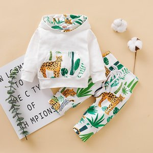 Micol Emilly Baby Boy Sweater Suit Animal Printed Long Sleeve Hooded Sweater+Trousers Clothing Set for Kids Y1113