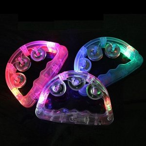 Colorful Flashing Baby Rattle Hand Bell Light Up LED Tambourine Luminous Toys Bar KTV Party Supplies Cheering Prop TO139