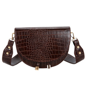 Top New Fashion Women Crossbody Bag Crocodile Semicircle Saddle Bags Soft Leather Shoulder Bag For Women Eveing bags