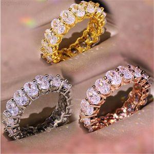 Factory40R7Vintage Fashion Jewelry Real 925 Sterling Silver Choucong Princess White Topaz CZ Diamond Eternity Women Wedd