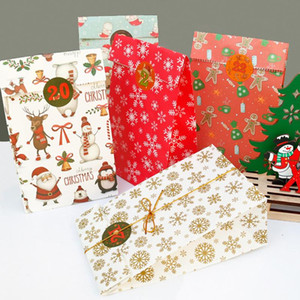 24Pcs Set Multi Purpose Christmas Gift Bag Decorations Stickers Paper Bags Holiday Supplies Snack Wrapping Bag 12x7.5x23cm