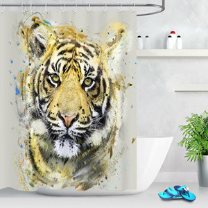 Bathroom Waterproof Polyester Watercolor Tiger Wild Animal Shower Curtain