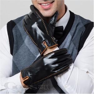 Натуральная кожа Gours зимы Мужские перчатки Новый бренд сенсорный экран перчатки Мода Теплый черные перчатки из козлиной кожи Рукавицы GSM012 201104