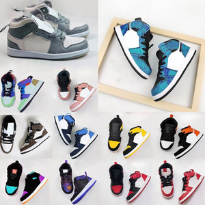 Top 1s Basketball Kids Running Shoes Games Obsidian Chicago Bred Sneakers Melody Mid Multi-Color Tie-Dye Kids Shoes 26-35