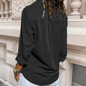 Womens Solid Shirt Casual Button Tops Ladies Blouses Turn-down Collar Long Sleeve Chiffon Shirts Female Pocket Blouses