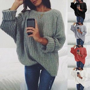 New Autumn Casual Sweater O neck Fashion Jumper Solid Color Knittwear 2020 Women Loose Pullovers Korean Style Tops