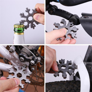 18 In 1 Stainless Steel Multi-Tool Snowflake Keychains Tools Card Screwdriver Wrench Spanner Bottle Opener Outdoor Survive Camping E102902