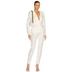 Женские брюки из двух частей Adyce 2021 весенние женские наборы белый с длинным рукавом Blazer шорты сплошные двухсекционные пальто леди повседневная мода