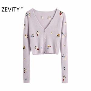 Zevity Neue Frauen Mode V-Ausschnitt Blume Stickerei Strickjacke Strick Pullover Damen Langarm Lässige Pullover Chic Tops S402 201016