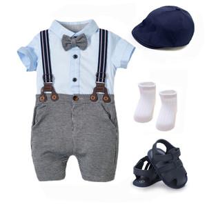 Kabeier Meninos Verão Vestuário 3 - 24 Meses Romper roupas de algodão macio Outfits recém-nascido Crianças Hat Calçados Céu Azul KB8067 Y1112