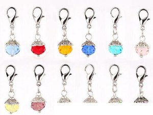 Mix Colors Crystal Birthstone Dangles Birthday Stone Pendant Charms Beads With Lobster Clasp Fit For Floating Locket
