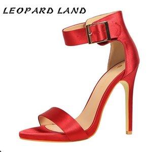 LEOPARD LAND11CM Fashion Simple Sexy Fine Heel Women's Shoes Ultra-high Heel Satin Metal Belt Buckle Word Strap Women Sandals DS 0928