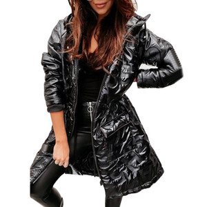 Gold Parkas Autumn Winter Jacket Women Long Sleeve Warm Female Glitter Coat Slim Casual Girl Outwear 2020 Fall Elegant Tunic